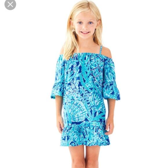 LILLY PULITZER GIRLS MADELINA DRESS Coastal Blue Lion Around Sz 12